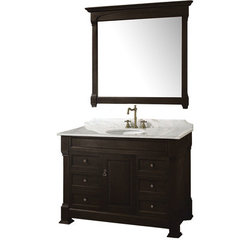 Buy Wyndham Collection Andover 48 Inch White Carrera Marble Top Single Sink Vanity Set in Dark Cherry on sale online