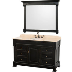 Buy Wyndham Collection Andover 55 Inch Ivory Marble Top Single Sink Vanity Set in Black on sale online