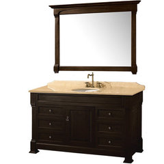 Buy Wyndham Collection Andover 55 Inch Ivory Marble Top Single Sink Vanity Set in Dark Cherry on sale online