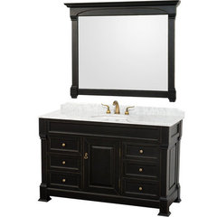 Buy Wyndham Collection Andover 55 Inch White Carrera Marble Top Single Sink Vanity Set in Black on sale online