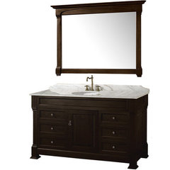 Buy Wyndham Collection Andover 55 Inch White Carrera Marble Top Single Sink Vanity Set in Dark Cherry on sale online