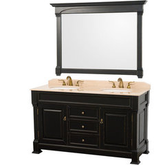 Buy Wyndham Collection Andover 60 Inch Ivory Marble Top Double Sink Vanity Set in Black on sale online