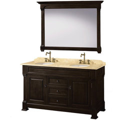 Buy Wyndham Collection Andover 60 Inch Ivory Marble Top Double Sink Vanity Set in Dark Cherry on sale online