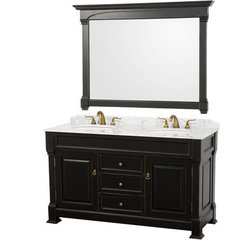 Buy Wyndham Collection Andover 60 Inch White Carrera Marble Top Double Sink Vanity Set in Black on sale online