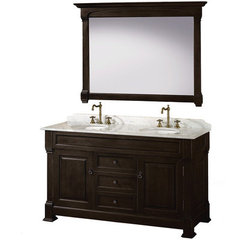 Buy Wyndham Collection Andover 60 Inch White Carrera Marble Top Double Sink Vanity Set in Dark Cherry on sale online