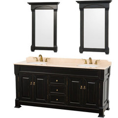 Buy Wyndham Collection Andover 72 Inch Ivory Marble Top Double Sink Vanity Set in Black on sale online