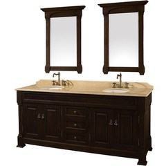 Buy Wyndham Collection Andover 72 Inch Ivory Marble Top Double Sink Vanity Set in Dark Cherry on sale online