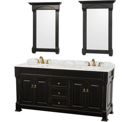 Buy Wyndham Collection Andover 72 Inch White Carrera Marble Top Double Sink Vanity Set in Black on sale online