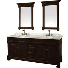 Buy Wyndham Collection Andover 72 Inch White Carrera Marble Top Double Sink Vanity Set in Dark Cherry on sale online