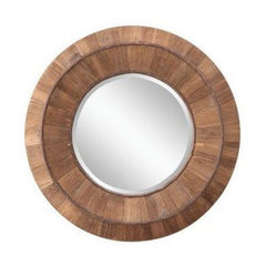 Buy Cooper Classics Andrea 32 Inch Round Mirror in Natural Rustic Wood on sale online