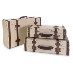 Buy IMAX Worldwide Antique Ivory Suitcases (Set of 3) on sale online