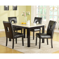Buy Homelegance Archstone 5 Piece 48x36 Dining Room Set w/ Black Chairs on sale online