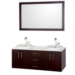 Buy Wyndham Collection Arrano 55 Inch White Stone Top Double Sink Vanity Set on sale online