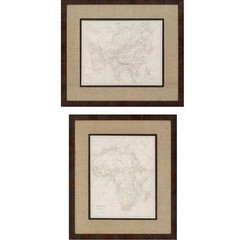 Buy Paragon Asia/Africa Maps 30x26 Framed Wall Art (Set of 2) on sale online
