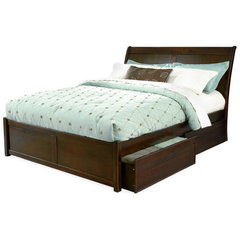 Buy Atlantic Furniture Bordeaux Bed w/ Flat Panel Footboard in Antique Walnut on sale online