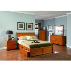 Buy Atlantic Furniture Bordeaux Bed w/ Flat Panel Footboard in Caramel Latte on sale online