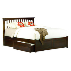 Buy Atlantic Furniture Brooklyn Bed w/ Flat Panel Footboard in Antique Walnut on sale online
