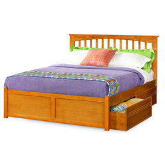 Buy Atlantic Furniture Brooklyn Bed w/ Flat Panel Footboard in Caramel Latte on sale online