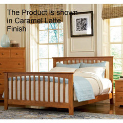 Buy Atlantic Furniture Brooklyn Bed w/ Matching Footboard in Natural Maple on sale online