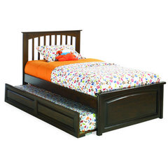 Buy Atlantic Furniture Brooklyn Bed w/ Raised Panel Footboard in Antique Walnut on sale online