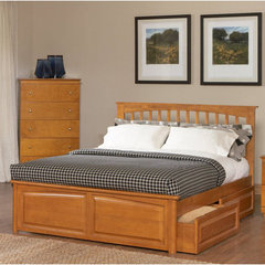 Buy Atlantic Furniture Brooklyn Bed w/ Raised Panel Footboard in Caramel Latte on sale online