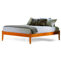 Buy Atlantic Furniture Concord Platform Bed w/ Open Footrail in Caramel Latte on sale online