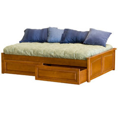 Buy Atlantic Furniture Concord Platform Bed w/ Raised Panel Footboard in Caramel Latte on sale online