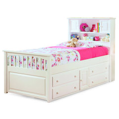 Buy Atlantic Furniture Captains Bookcase Bed w/ Underbed 4-Drawers Chest in White on sale online