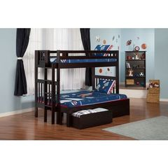 Buy Atlantic Furniture Cascade Bunk Bed Twin over Full in an Espresso Finish w/ 2 Storage Drawers on sale online