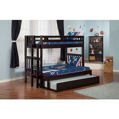 Buy Atlantic Furniture Cascade Bunk Bed Twin over Full in an Espresso Finish w/ Trundle Bed on sale online