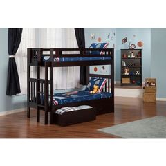 Buy Atlantic Furniture Cascade Bunk Bed Twin over Twin in an Espresso Finish w/ 2 Storage Drawers on sale online