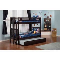 Buy Atlantic Furniture Cascade Bunk Bed Twin over Twin in an Espresso Finish w/ Trundle Bed on sale online