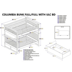 Buy Atlantic Furniture Columbia Bunk Bed Full/Full w/ Flat Panel Bed Draweres in White on sale online