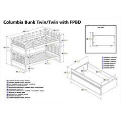 Buy Atlantic Furniture Columbia Bunk Bed Twin/Twin w/ Flat Panel Bed Drawers in White on sale online