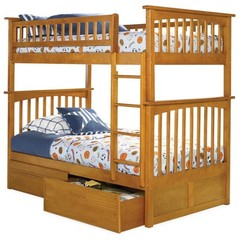 Buy Atlantic Furniture Columbia Bunk Bed w/ Flat Panel Drawers in Caramel Latte on sale online