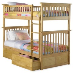 Buy Atlantic Furniture Columbia Bunk Bed w/ Flat Panel Drawers in Natural Maple on sale online