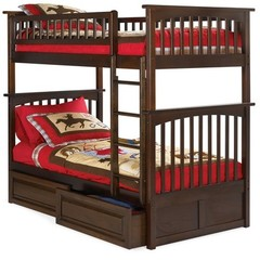 Buy Atlantic Furniture Columbia Bunk Bed w/ Raised Panel Drawers in Antique Walnut on sale online