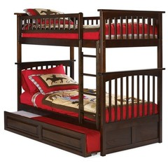 Buy Atlantic Furniture Columbia Bunk Bed w/ Trundle in Antique Walnut on sale online