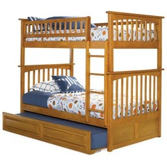 Buy Atlantic Furniture Columbia Bunk Bed w/ Trundle in Caramel Latte on sale online