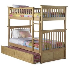 Buy Atlantic Furniture Columbia Bunk Bed w/ Trundle in Natural Maple on sale online