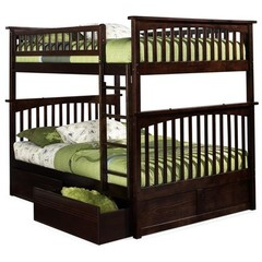 Buy Atlantic Furniture Columbia Full/Full Bunk Bed w/ Flat Panel Drawers in Antique Walnut on sale online