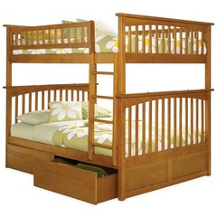 Buy Atlantic Furniture Columbia Full/Full Bunk Bed w/ Flat Panel Drawers in Caramel Latte on sale online