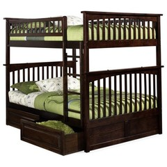 Buy Atlantic Furniture Columbia Full/Full Bunk Bed w/ Raised Panel Drawers in Antique Walnut on sale online