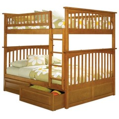 Buy Atlantic Furniture Columbia Full/Full Bunk Bed w/ Raised Panel Drawers in Caramel Latte on sale online