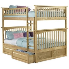 Buy Atlantic Furniture Columbia Full/Full Bunk Bed w/ Raised Panel Drawers in Natural Maple on sale online