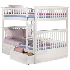 Buy Atlantic Furniture Columbia Full/Full Bunk Bed w/ Raised Panel Drawers in White on sale online
