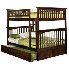 Buy Atlantic Furniture Columbia Full/Full Bunk Bed w/ Trundle in Antique Walnut on sale online