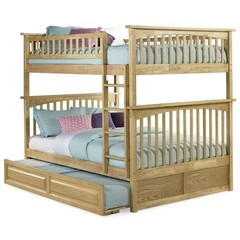 Buy Atlantic Furniture Columbia Full/Full Bunk Bed w/ Trundle in Natural Maple on sale online
