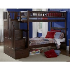 Buy Atlantic Furniture Columbia Staircase Bunk Bed in Antique Walnut on sale online