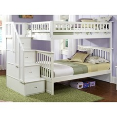 Buy Atlantic Furniture Columbia Staircase Bunk Bed in White on sale online